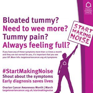 Shout about the symptoms of Ovarian Cancer.