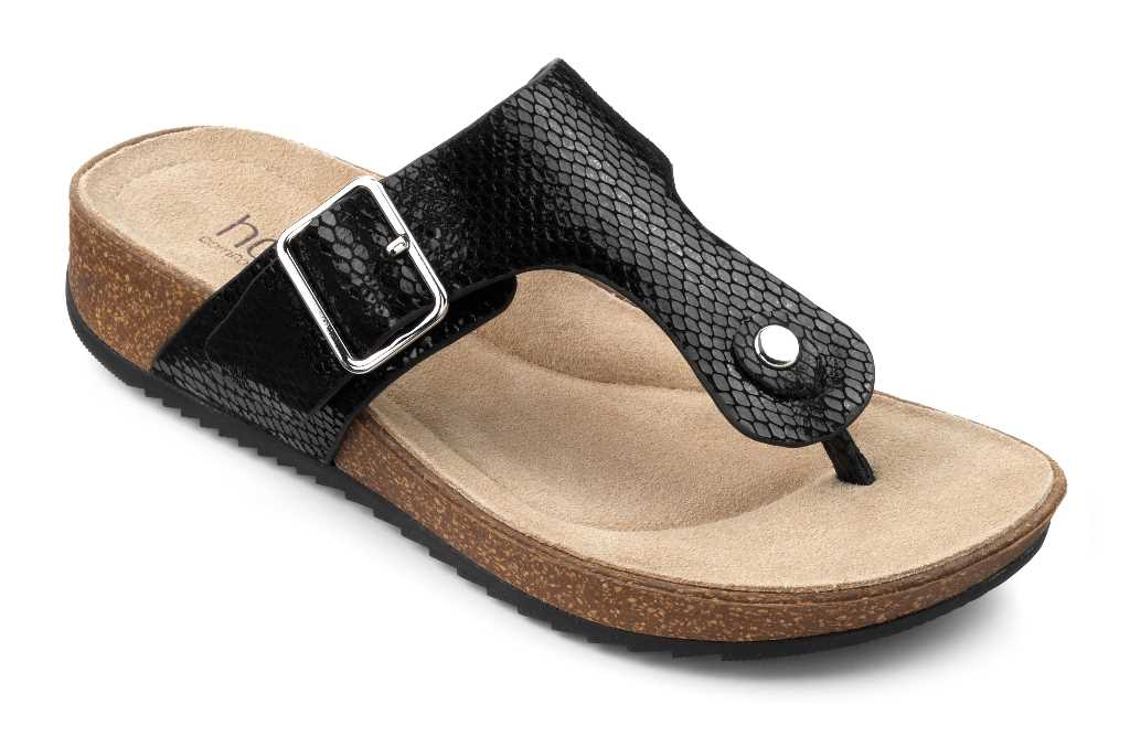 Women's toe post sandal Resort in Black Snake