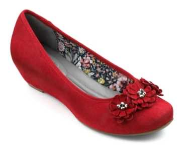 Women's wedge Peony in colour Red Suede