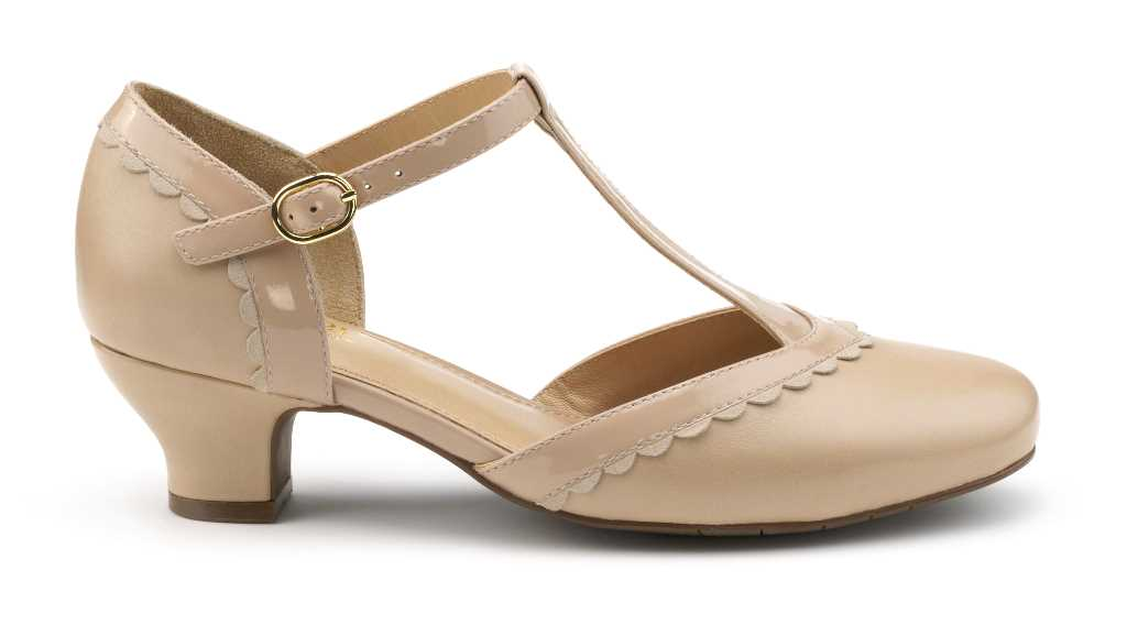 Vintage inspired women's heel Viviene in Beige