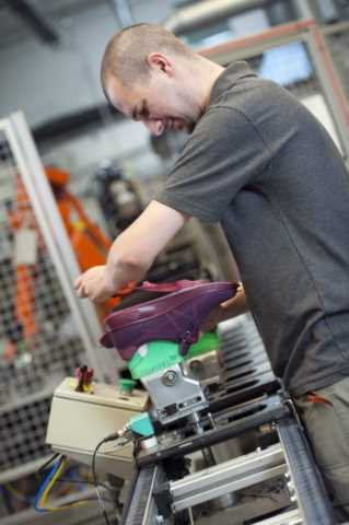Hotter shoes being made in our factory in Lancashire.