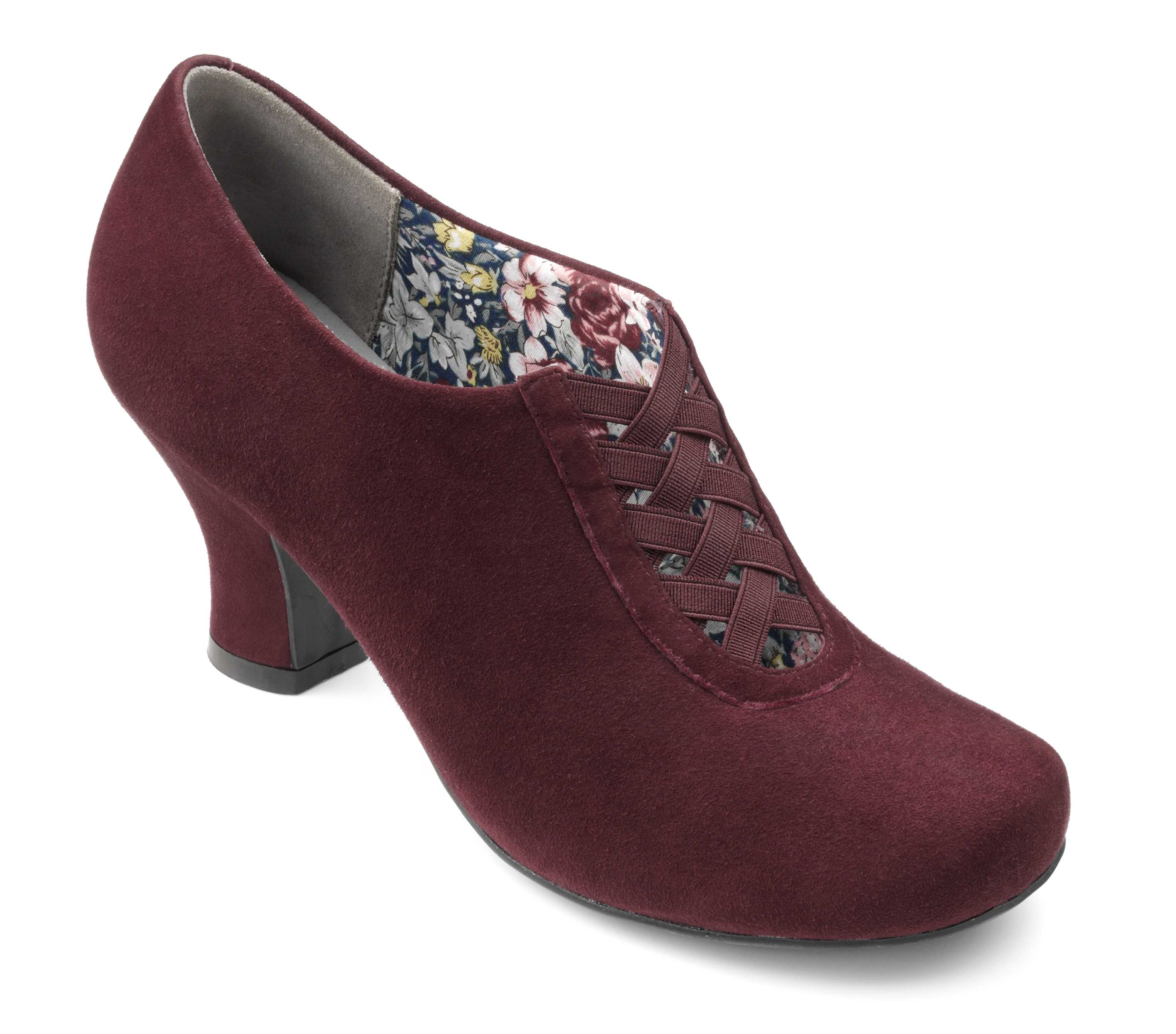 Women's slip on heel Stephanie in Maroon Suede