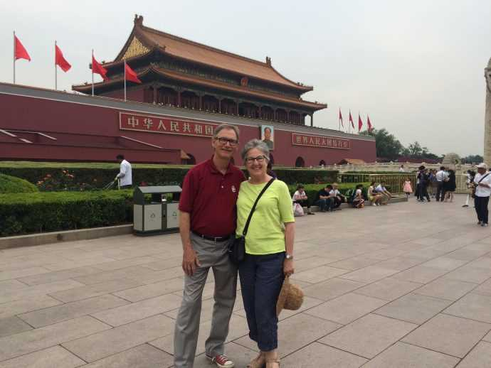 Hotter customer Marilyn wearing comfortable women's Hotter shoes in The Forbidden City, China