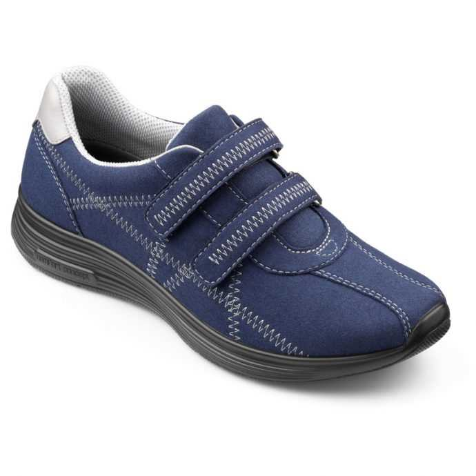 Comfortable women's shoes, Active footwear, women's trainers, British made shoes, Hotter Active range, wide fitting trainers, older lady trainers, cusioned shoes, podiatrist approved footwear, velcro fastening footwear