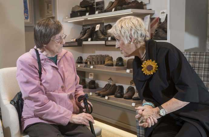 Calendar Girl Tricia meets a Hotter customer in the Leeds shoe store.