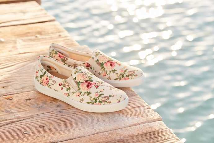 Hotter Originals, Hotter shoes, British made shoes, canvas pumps, trainers, active shoes, floral trend, SS17, new season shoes, comfortable women's shoes, ballerina flats, Jewel shoes, wide fitting shoes