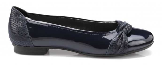 Patent women's flat shoe Sylvie in Navy